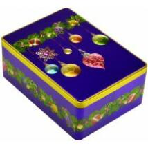 Farmhouse Biscuits - Purple Bauble Rectangle Tin (Fémdobozos fűszeres gyömbéres keksz) 400g