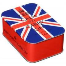Keep Calm and Carry On Union Jack Slide fémdoboz 10 db teafilterrel