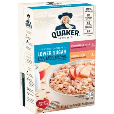 Quaker Instant Oatmeal, Low Sugar Fruit & Cream Variety Pack, 10 Packets [USA] 300g
