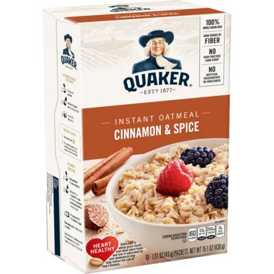 Quaker Instant Oatmeal, Cinnamon & Spice, 10 Packets [USA] 430g