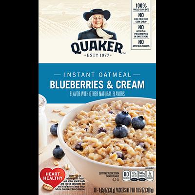 Quaker Instant Oatmeal, Bleueberries & Cream , 10 Packets [USA] 300g