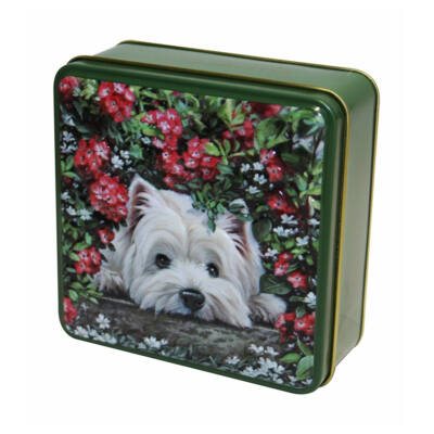 Grandma Wild's Embossed Hiding Westie Dog Tin (Bujkáló westie kutyus fémdoboz vajas keksszel) 100g