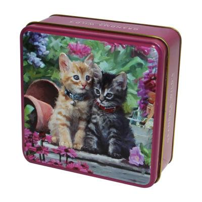 Grandma Wild's Embossed Ginger & Tabby Kitten Tin (Vörös és cirmos cicák fémdobozos vajas keksz) 100g