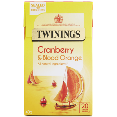 Twinings Cranberry and Blood Orange Tea (Vörösáfonya és Vérnarancs Tea) 20 db filter