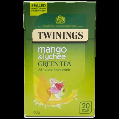 Twinings Green Tea, Mango & Lychee  (Zöld Tea Mangóval és Licsivel) 20 db filter