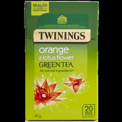 Twinings Green Tea with Orange and Lotus Flower  (Zöld Tea Naranccsal és Lótuszvirággal) 20db filter