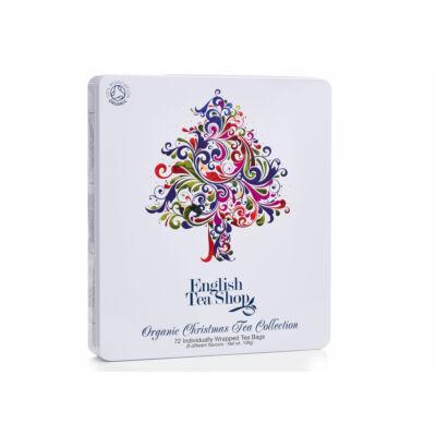 English Tea Shop Ünnepi Karácsonyfás Bio Tea fémdobozban 72 db filter