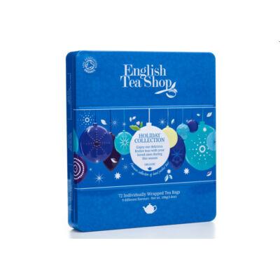 English Tea Shop Fémdobozos Ünnepi Bio Tea válogatás kék gömbök 72 db filter