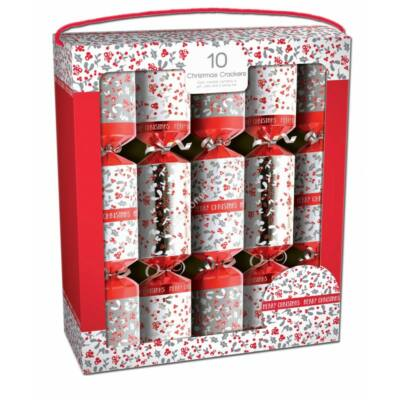 """Giftmaker Red and White Berries Christmas Crackers (10 db 14"""" méretű cracker)"""