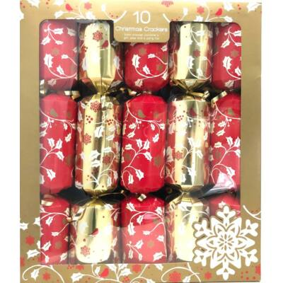 """Giftmaker Red and Gold Holly Christmas Crackers (10 db 14"""" méretű cracker)"""