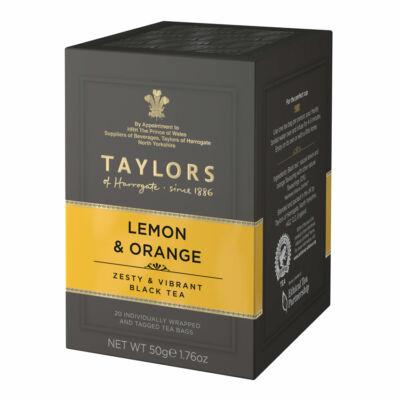 Taylor's of Harrogate Lemon & Orange (Fekete Tea citrommal és naranccsal) 20 db borítékolt filter