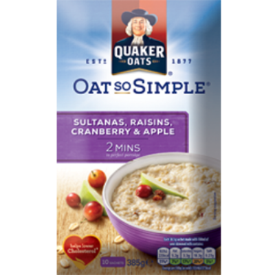 Quaker Oat So Simple Apple, Sultana, Raisin & Cranberry (10 instant tasak)