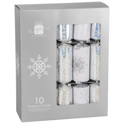"Giftmaker Silver & White Christmas Crackers 10 db 12"" méretű cracker"