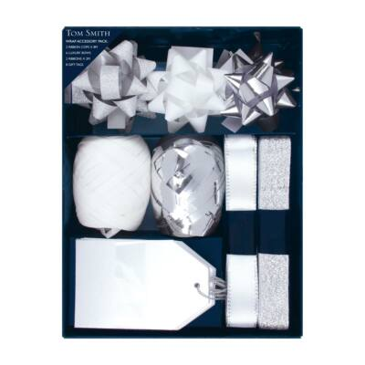 Tom Smith Silver & White Wrap Accessory Pack