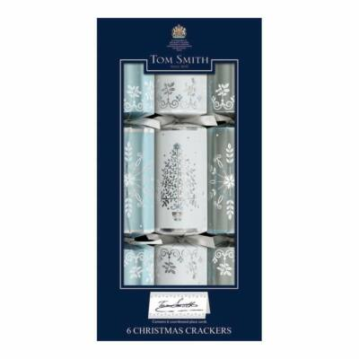"Tom Smith Silver, White & Blue Dinner Cube Christmas Crackers 6db 12"" méretű cracker"