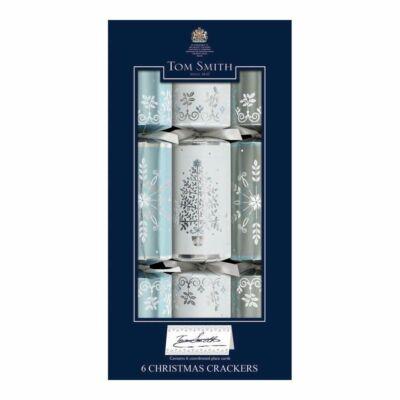 "Tom Smith Silver, White & Blue Dinner Cube Christmas Crackers 6db 12"" méretű cracker"