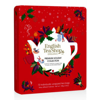 English Tea Shop Premium Holiday Collection - Ünnepi piros fémdobozos teaválogatás 72 filter