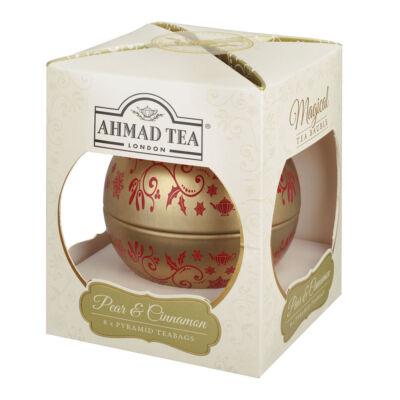 Ahmad Tea - Pear & Cinnamon Strudel Dessert Tea 8 piramis filter  - Gömb fémdobozos tea 8 piramis filter