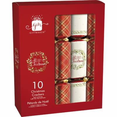 "Giftmaker Traditional Christmas Crackers 10 db 12"" méretű cracker"