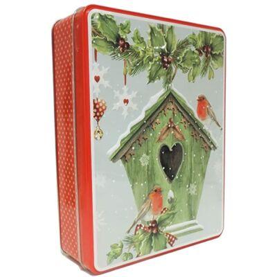 Grandma Wild's Red Embossed Bird House Tin (Vörösbegyek a madáretetőn fémdobozos kekszválogatás) 400g