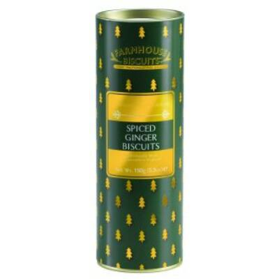 Farmhouse Biscuits  Green Christmas Tree Tube 150g (Spiced Ginger Biscuits)  150g