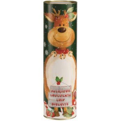 Farmhouse Biscuits Giant Reindeer Tube (Óriás rénszarvasos henger mini csokis keksszel) 200g