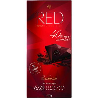 Red Extra Dark Chocolate 40% Less Calories 100g