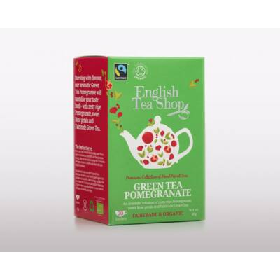 English Tea Shop - Green Tea Pomegranate (Zöld tea gránátalmával) 20 db borítékolt filter