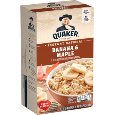 Quaker Instant Oatmeal Banana & Maple 8 db tasak [USA] 344g