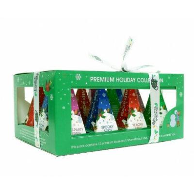 English Tea Shop - Premium Holiday Collection - Zöld Karácsonyi selyempiramis teaválogatás 12 db filter