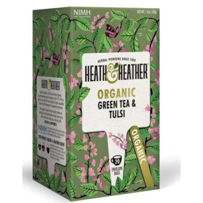 Heath & Heather Organic Green Tea & Tulsi - Bio zöld tea tulsival 20 db filter