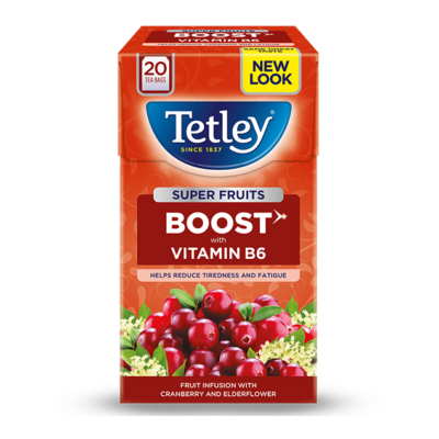 Tetley Super Fruit Vitamin B Cranberry and Elderflower Tea (Vörösáfonya és bodza) 20db filter