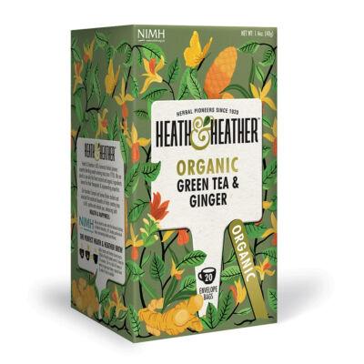 Heath & Heather Organic Green Tea & Ginger (Bio zöld tea gyömbérrel) 20 db filter