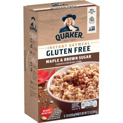 Quaker Instant Oatmeal, Gluten Free, Maple Brown Sugar [USA] 8 instant tasak