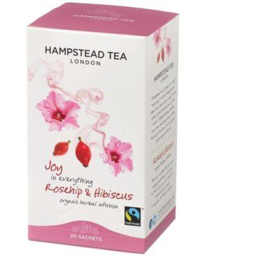 Hampstead Rosehip & Hibiscus (Organic & Fairtrade) Tea - Bio Csipkebogyó és Hibiszkusz Tea 20 db filter