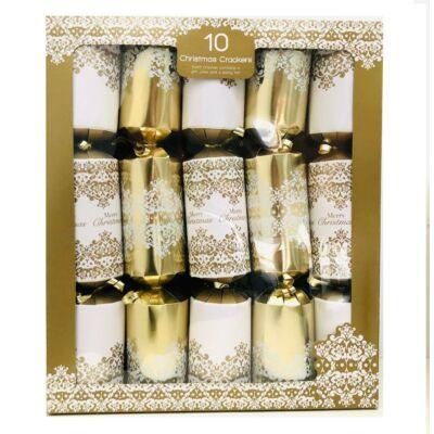 "Giftmaker White and Gold Damask Christmas Crackers (10 db 14"" méretű cracker)"