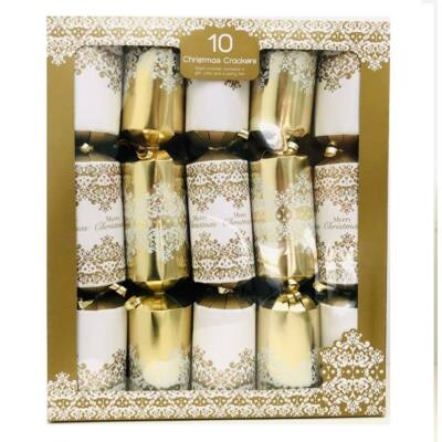 "Giftmaker White and Gold Damask Christmas Crackers (10 db 14"" méretű cracker)"