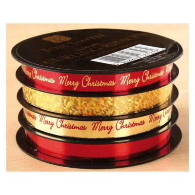Tom Smith Luxury Christmas Ribbon Spools - Red & Gold