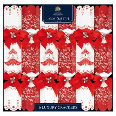 "Tom Smith Red & White Luxury Christmas Crackers 6x14"" méretű cracker"