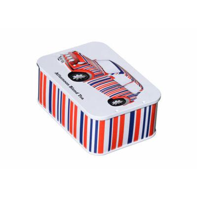 British Heritage Red, White & Blue Stripes Sliding Lid Tea Tin 10 db teafilterrel