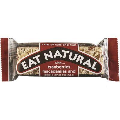 Eat Natural Cranberry, Macadamia & Dark Chocolate Bar (Vörösáfonyás, Macadamia diós étcsokoládéval bevont müzliszelet) 45g