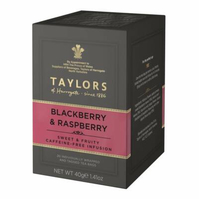 Taylors of Harrogate Blackberry & Raspberry Tea (20 db koffeinmentes borítékolt filter)
